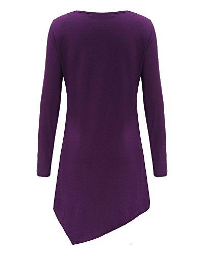 ZANZEA Femmes Casual Chemise à Manches Longues Irrégulière Col V Mini Robe Tops Blouse Violet