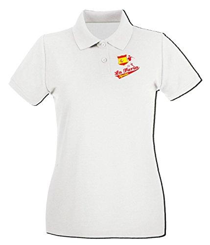 T-Shirtshock - Polo pour femme WC0106 ESPANA SPAGNA SPAIN Blanc