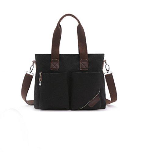 BULAGE Taschen Mode Wirtschaft Retro Doppelte Tasche Freizeit Tragbar Schulter Diagonal Leinwand Stereoanlage Im Freien Black
