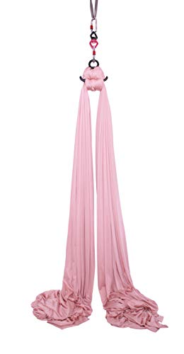 F.Life Aerial Silks Equipment- Medium Stretch Seide für Akrobatic Dance Aerial Yoga Hängematte 10 Meter lang, Blush Nude