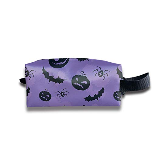 Makeup Cosmetic Bag Bats Spider and Pumpkin Medicine Bag Zip Travel Portable Storage Pouch for Mens Womens