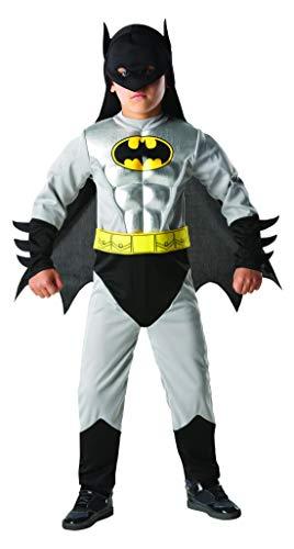 Luxuspiraten - Jungen Kinder Batman Metalic Deluxe Kostüm mit Muskelpolster Einteiler, Gürtel, Umhang und Maske, perfekt für Karneval, Fasching und Fastnacht, 128-140, ()