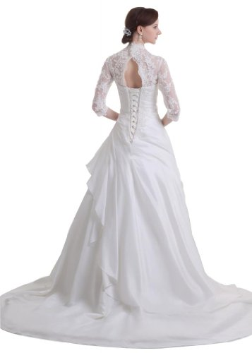 ... GEORGE BRIDE neue Designer elegante 3/4 aermel Kapelle-Schleppe  Brautkleid mit Applikation Weiß