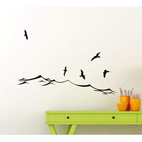 Meer Wandtattoos Wellen Vögel Möwe Ozean Bad Vinyl Wandaufkleber Marine Beach Nautischen Kinder Schlafzimmer Kunst Decor 83x56 cm -