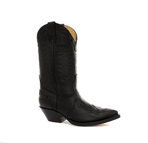Grinders Arizonas Hoch Unisex Leder Cuban Heel Cowboy Stiefel Schwarz 45 (Schwarz Herren Cowboy Stiefel)