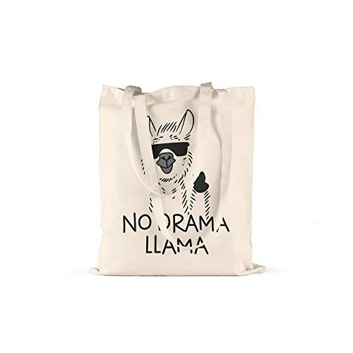 licaso Jutebeutel Bedruckt No Drama Llama Print in Natur Baumwolltasche mit Langen Henkeln Beutel Sunglass Sonnenbrille Druck Ökologisch & Nachhaltig Tragetasche 100% Baumwolle