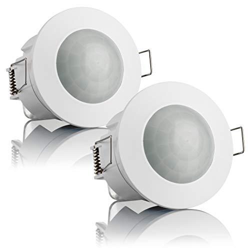 Sebson 2X Detector de Movimiento empotrable, Interior, Montaje en Techo, programable, Sensor de Infrarrojos, Alcance 6m/360°, LED Adecuado