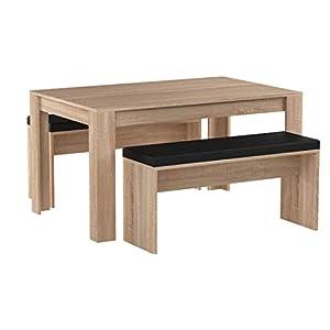 FineBuy Esszimmer-Set FB51797 Sonoma Eiche Esstisch mit 2 Bänken Holz Modern | Essgruppe Tischgruppe Küche Klein…
