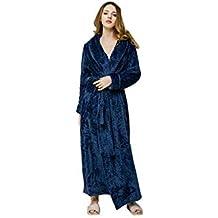 Mujer otoño Invierno Bata de Franela Larga Albornoz Coral Fleece Pijamas Suave y cómoda Bata