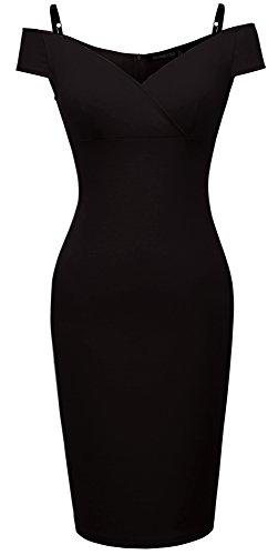 HOMEYEE Damen Vintage Blumendruck Off Shoulder Riemchen Knielänge Bodycon Enges Kleid B309 (EU 38 (Herstellergroesse: M), Schwarz) - Elegante Momente Kleider