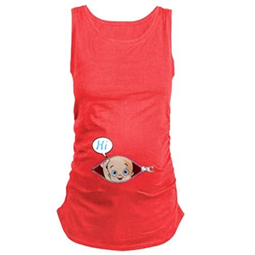 Mutterschaft Shirt ärmelloses T-Shirt Schwangere Tops - Schwangere Frauen-Rundhalsausschnitt-niedliche lustige T-Shirt der schwangeren Frauen ärmelloses Oberteile ()