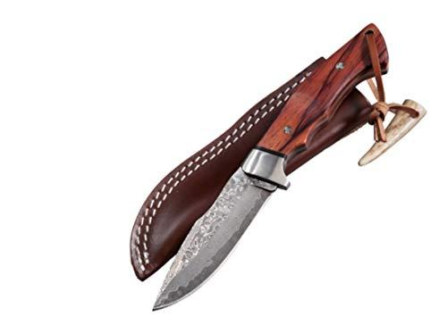 PARFORCE Jagdmesser Damast Milan Griff aus Makassar-Ebenholz inklusive Lederscheide und Geschenkbox