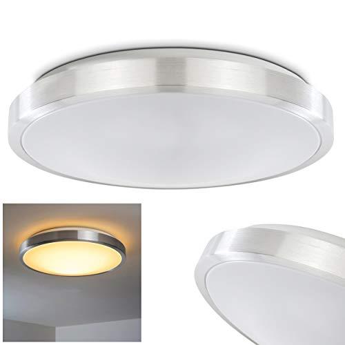 LED Deckenleuchte Wutach, runde Deckenlampe aus Metall in Alu gebürstet, 1 x 22 Watt, 1700 Lumen, Lichtfarbe 3000 Kelvin (warmweiß), IP 44, auch für das Badezimmer geeignet