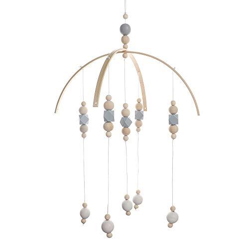 Cozyhoma Clochettes de lit pour bébés, mobile musical pour berceau de bébés, avec perles en bois, carillon rotatif à suspendre, jouets décoratifs de type hochet, à suspendre, Plastique, A5, 32 x 52 cm