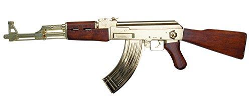 AK 47 Kalaschnikow 'Goldfarben' Deko Waffe Originalgröße -