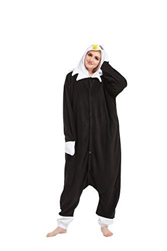 Fandecie Tier Kostüm Tierkostüm Tier Schlafanzug Pyjamas Jumpsuit Kigurumi Adler Damen Herren Erwachsene Cosplay Tier Fasching Karneval Halloween (Schwarz Adler, XL:Höhe 180-189cm)