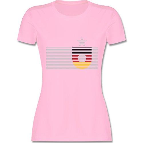 EM 2016 - Frankreich - Deutschland Streifen - tailliertes Premium T-Shirt mit Rundhalsausschnitt für Damen Rosa