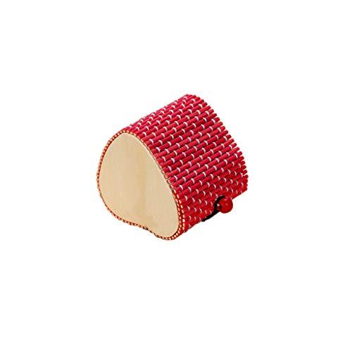 Sulifor Einfache und große kapazität kreative Bambus Vorhang Holz schmuck Ring kleine schmuck aufbewahrungsbox Ohrringe schmuckkästchen herzförmig