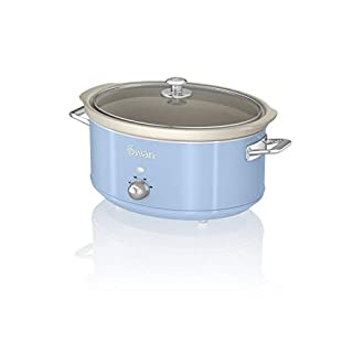 Swan SF17031BLN 6.5 Litre Retro Slow Cooker with Removable Ceramic Pot, 3 Heat Settings - Includes Recipe Book, 320w, Blue