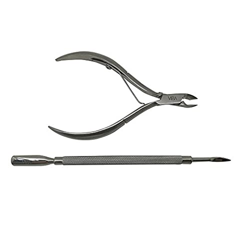 Viba Stainless Steel Cuticle Nippers and Cuticle Pushers Starter Set for Home Users. Manicure Pedicure Set. Single Spring, 5mm Jaw Nippers and Double-Ended Cuticle Pusher 106