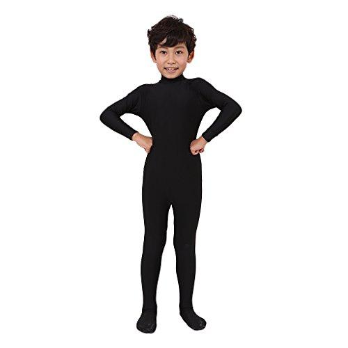 Homyl Kinder Unisex Kostüm Ganzkörperanzug Schwarz Anzug Einteiler -