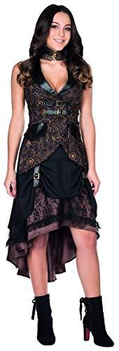 Für Damen Kostüm Steampunk - Rubie's Steampunk Rock braun Größe 36 Damen Ziffernblatt Aufdruckt Karneval Kostüm Kleid