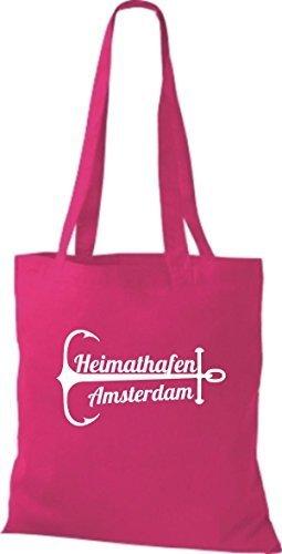 ShirtInStyle Stoffbeutel Baumwolltasche Heimathafen Amsterdam pink