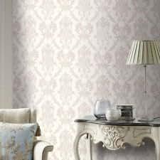 Moonstone Beige / Silver Glitter - M0730 - Rafaele Damask - Vymura Wallpaper