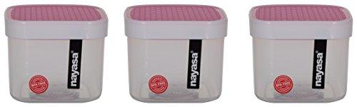 Nayasa Superplast Fusion Plastic Container Set, 750 ml, Set of 3, Pink