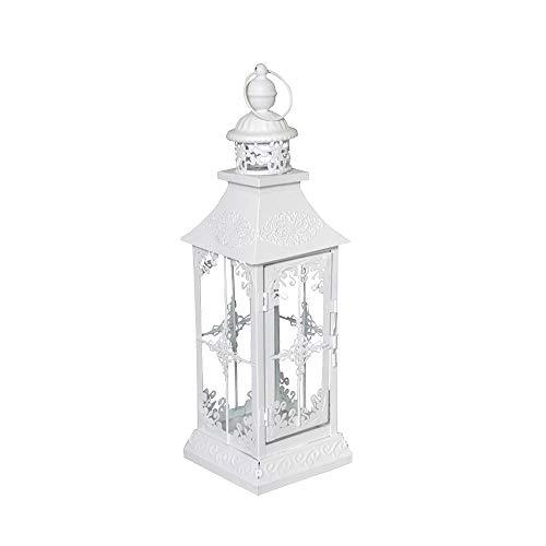 Chalet Lanterne style romantique rustique Blanc mat Hauteur 40 cm