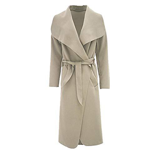 Damen Mantel Kim Kardashian Übergroße Wasserfall Jacke Mit Gürtel Neu - Eine Größe, Stein Luxe Blouson