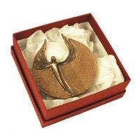 Hochwertige Engel-Skulptur aus silber-farbener antiker Bronze, Der Bote Gottes - ein liebevolles kleines Geschenk, Ø 9,0 cm