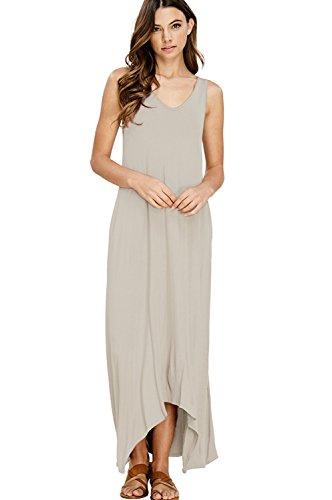 NASKY Femme Robe Sans Manches Longue Ete Robe Boheme Chic Maxi Plissée Casual Maxi Dress Avec Poches (Medium, couleur Lotus)
