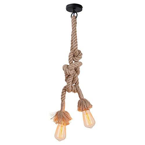 Lixada 50cm AC 220V E27 Vintage Style R/étro Lampe Suspension Corde pour Restaurant Bar Cafe Lighting Utilisation douille unique, ampoule nest pas inclus Lustre corde chanvre