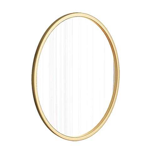 XHCP Gold Metallrahmen Oval Badezimmerspiegel Runde Wand Kosmetikspiegel und Rasierspiegel Flachspiegel Modern 40x65cm