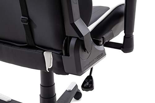 DX Racer6 Gaming Stuhl, Schreibtischstuhl, Bürostuhl, Chefsessel mit Armlehnen, Gaming chair, Gestell Kunststoff, 78 x 52 x 124-134 cm, Kunstleder PU schwarz / weiß - 8
