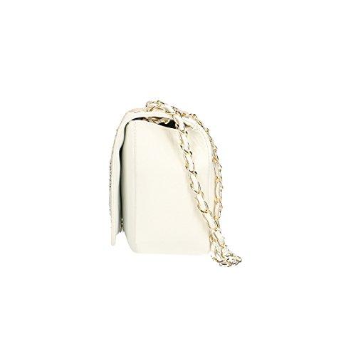 Borse Cm Chicca Schultertasche Leder Weiß echtes 28x18x10 anqU84