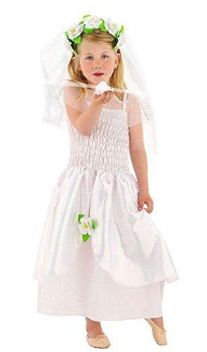 ng Dress 2-teilig für Mädchen, Größe S, weiß (Braut Halloween Kostüm Für Kinder)