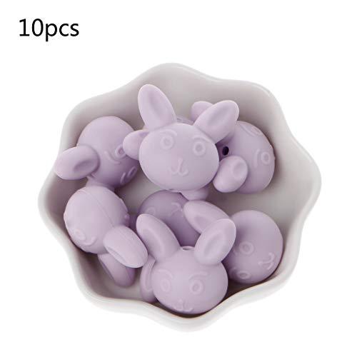 Jiamins 10 Stück/Set Tier Perlen für Baby Schnullerketten Beißring - Lebensmittelqualität Silikon,12 Farben,25×25×19mm/0.98×0.98×0.75in, Baby Kauspielzeug (Hellpurpur)