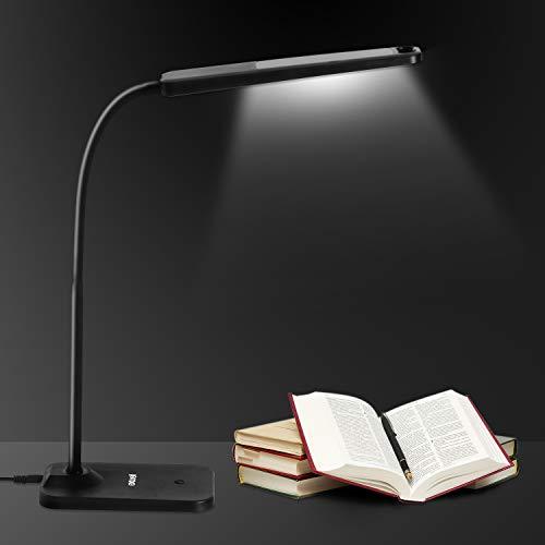 Lampada Scrivania 57 LED, Exwell Lampada da Tavolo Regolabile 4 Livelli Dimmerabili Controllo Touch Lampada Scrivania per Ufficio Lettura Studio Lavoro