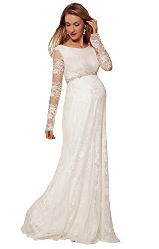 Nanger Hochzeitskleider Schwanger Spitze mit Lange Ärmel Mutterschaft Brautkleider Wedding Dress...