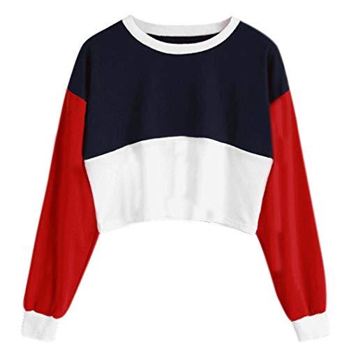 TianWlio Damen Hoodie Frauen Rundhals Sweatshirt Langarm Farbabstimmung Short Top Sweatshirt...