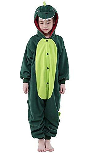 Dinosaurier Kostüm Damen - ABYED® Einhorn Kostüm Jumpsuit Onesie Tier Fasching Karneval Halloween kostüm Damen mädchen Herren Kinder Unisex Cosplay Schlafanzug, Dinosaurier, Größe 85 - für Höhe 95-105 cm (3-4 Jahre)