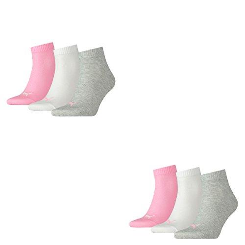Puma 6 Paar Unisex Quarter Socken Sneaker Gr. 35-49 für Damen Herren Füßlinge