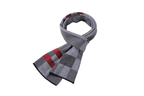 MMYOMI Herren Tartan Plaid Super Soft 300g Baumwolle & Seide Gestrickte Vogue Multicolour Schals für Herbst und Winter (grau 20) -