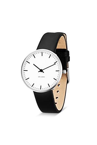 Arne Jacobsen 53201 Unisex-Quarz-Armbanduhr mit weißem analogen Zifferblatt, schwarzes Lederarmband (Uhr Arne Jacobsen)