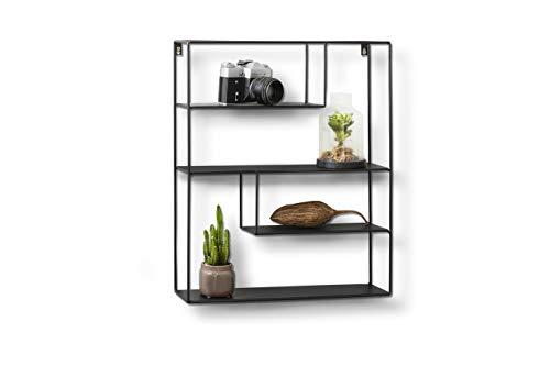 LIFA LIVING Eckiges Wandregal aus Metall mit 4 Böden | Schwarzes Vintage Küchenregal mit 4 Etagen | Gewürzboard Gewürzständer | 55 x 45 x 11 cm -