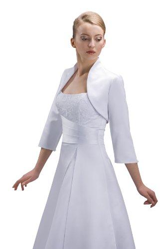 Bolero Jacke Braut Jacke fürs Brautkleid Material Satin - E55S (M, creme) (Braut Bolero Ivory)