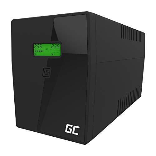 Green Cell® UPS USV Unterbrechungsfreie Stromversorgung 2000VA (1200W) mit Überspannungsschutz 230V Line-Interactive AVR Power Supply USB/RJ45 4X Schuko Ausgänge LCD Bildschirm
