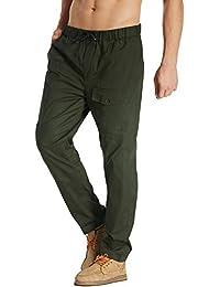 57d8f6fc0a MODCHOK Homme Pantalons Jogging Long Pants Loose Coupe Droite Lin Coton  Sport Décontracté